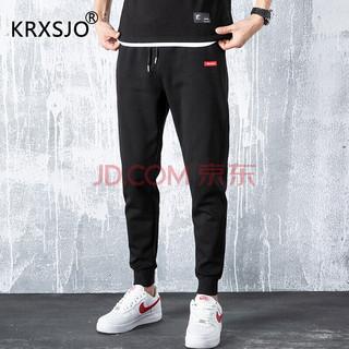 KRXSJO 男士休闲长裤 红标-黑色 L
