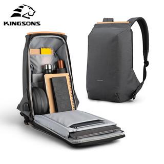 KINGSONS 金圣斯 防盗双肩包男2021年新款商务背包15.6寸电脑包时尚潮流旅行书包