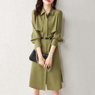 Sentubila 尚都比拉 21春秋新款裙子时尚优雅纯色衬衫领长袖连衣裙