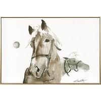 仟象映画 陈奇 动物客厅书房挂画马 A款 60x40cm 油画布 浅木色实木框