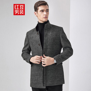 Hodo 红豆 男装毛呢大衣外套男士绵羊毛混纺修身立领秋冬季男装外套1622