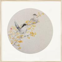 ARTMORN 墨斗鱼艺术 王伟 好彩头花鸟国画原作《喜来登》42×42cm 纸本国画 2021年