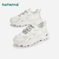 hotwind 热风 女鞋2021年秋季新款商场同款松糕厚底老爹鞋百搭休闲鞋女 04白色 35(正码)
