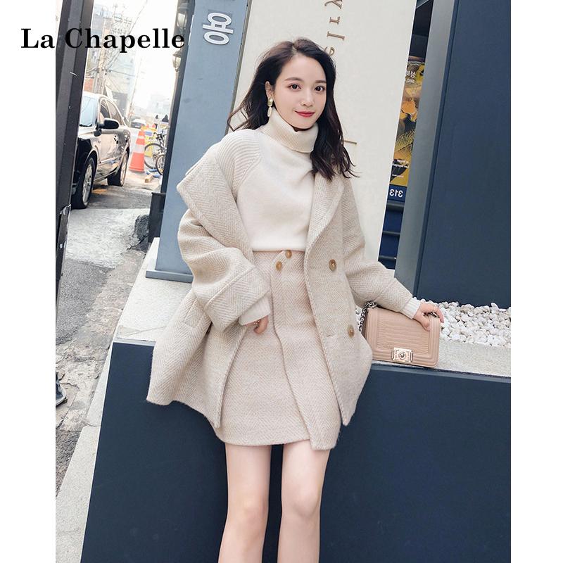 La Chapelle 拉夏贝尔 女子毛呢外套短裙套装