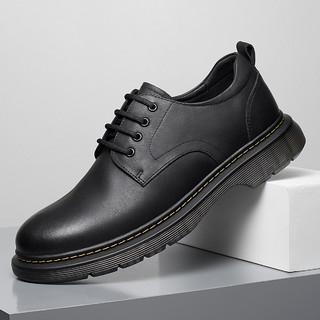 HLA 海澜之家 2021冬季新款男休闲鞋户外大头工装单鞋英伦风低帮系带男鞋