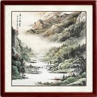 尚得堂 墨翁 手绘山水风景水墨画《春山凝翠》装裱65x65cm 宣纸 沙比利实木框
