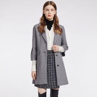 ELANIE RIESE 冬季单排扣中长款宽松毛呢大衣