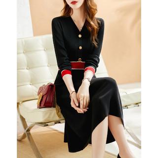 XWI 连衣裙2021新款女时尚针织拼接撞色优雅气质秋季连衣裙女长袖