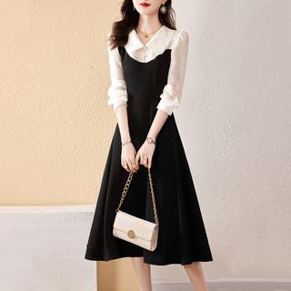 XWI 2021秋季新款时尚修身长袖简约商务通勤显瘦撞色拼接连衣裙女
