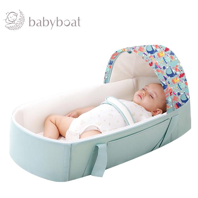 babyboat 贝舟 便携式婴儿提篮床 海底乐园绿色+蚊帐