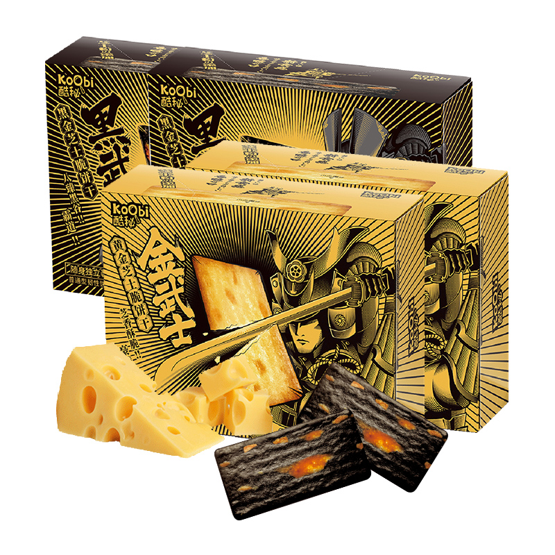 koobi 酷秘 武士岩烧芝士脆轻薄饼干糕点日式奶酪网红零食108g×4盒