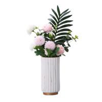 Hoatai Ceramic 华达泰陶瓷 金边石纹花瓶+葵叶牡丹 A款大号