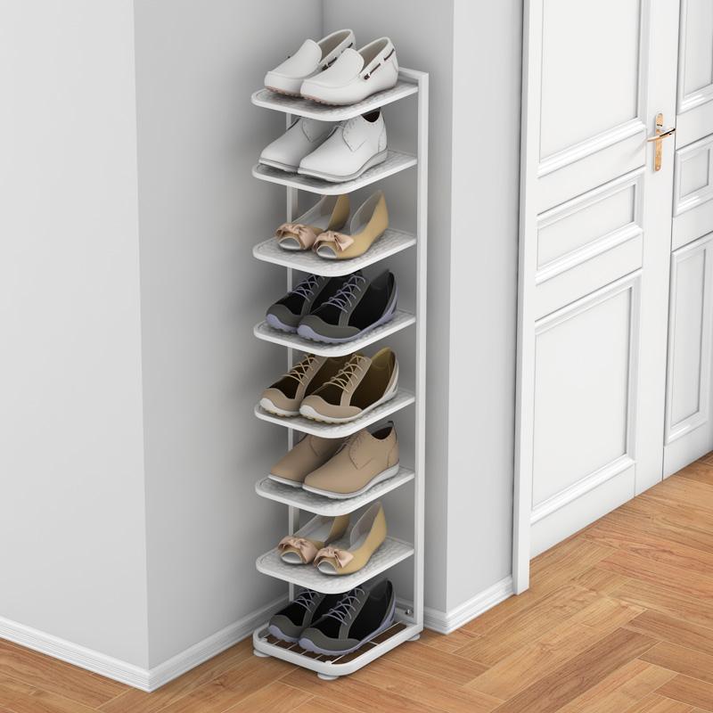 简易鞋柜家用门口玄关小窄小尺寸简约现代入户经济型门外多层鞋架 白色