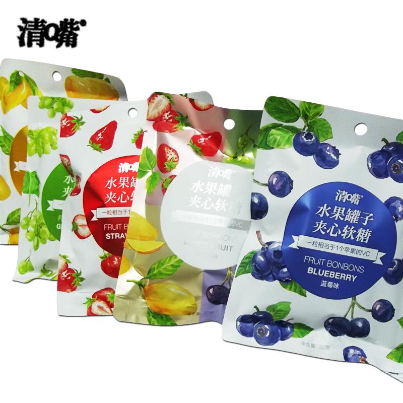 清嘴夹心软糖30g*10袋清新口气水果罐子休闲零食QQ糖清Q嘴橡皮糖 蓝莓味30g*10袋