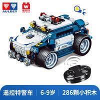 奥迪双钻拼搭车积木回力车可动玩具车套装遥控车坦克警车3岁以上男女孩玩具礼物 遥控特警车(颗粒数286)