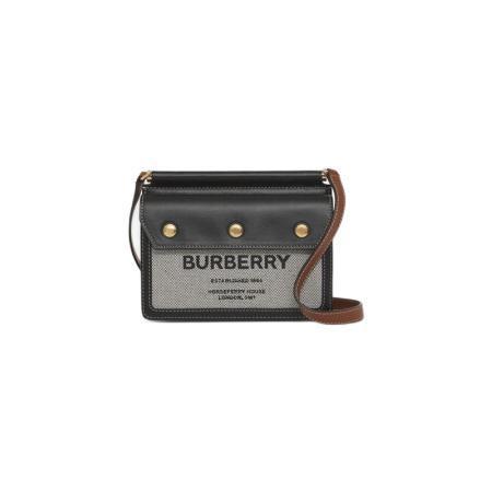 BURBERRY 博柏利 TITLE系列 Horseferry 女士迷你印花口袋细节泰尔勒手袋 80428521 黑色
