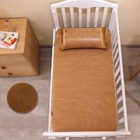 藤席宝宝幼儿园新生儿床可夏季折叠藤童席