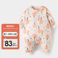 威尔贝鲁(WELLBER)婴儿睡袋儿童防踢被宝宝四季春秋睡袋厚棉梭织布可脱半袖分腿睡袋粉色森林85cm