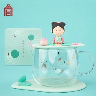 创意国风可爱咖啡杯—小格格鱼戏夏荷双层玻璃杯 160x160x150mm 高硼硅玻璃 硅胶