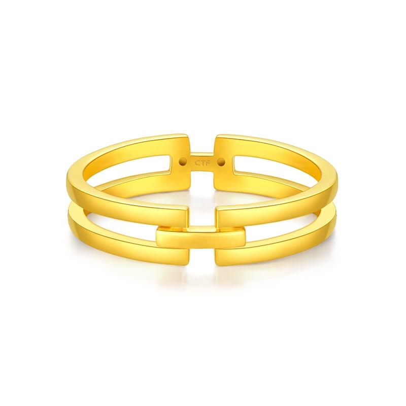 CHOW TAI FOOK 周大福 F224376 女士几何足金戒指