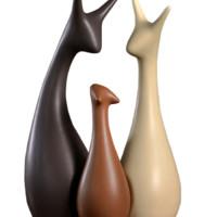 宏赫 一'鹿'有你陶瓷摆件 三口鹿套装 创意装饰品工艺品