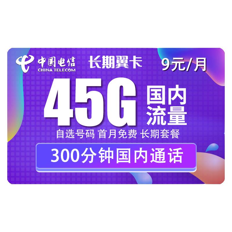 CHINA TELECOM 中国电信 5G长期翼卡 9元/月