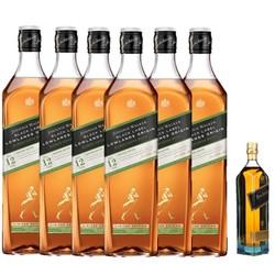 JOHNNIE WALKER 尊尼获加 黑牌/黑方 低地区苏格兰威士忌 整箱装 1L*6+赠蓝牌200ml(酒板)