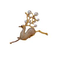HU LI LAN 湖丽兰 HP313-1 小鹿珍珠锆石胸针