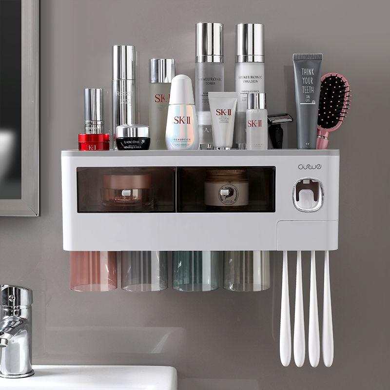 壹品印象一体式挤牙膏牙刷架壁挂免打孔浴室置物架多功能收纳套装