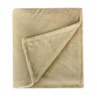 PLUS会员:京东京造 法兰绒毯子 超柔毛毯 午睡空调毯 加厚 180x200cm 卡其色