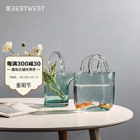 BEST WEST创意包包花瓶摆件北欧ins网红手提篮果盘气泡客厅透明玻璃轻奢 包包花瓶(蓝色)