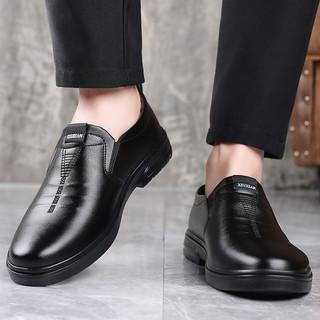 L'ALPINA 阿尔皮纳袋鼠 夏季新款时尚亮面尖头皮鞋经典时尚百搭男士商务皮鞋低帮休闲鞋 男