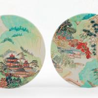 苏州博物馆 仙山楼阁图 杯垫2个装 软木陶瓷茶杯垫