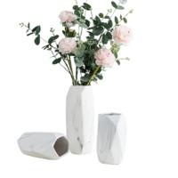 Hoatai Ceramic 华达泰陶瓷 石纹几何花瓶三件套+尤伽绿+粉牡丹*2束