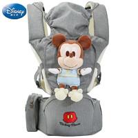 有券的上 : Disney 迪士尼 婴儿背带腰凳 横抱透气多功能前抱式儿童抱带透气抱娃神器四季通用 灰色
