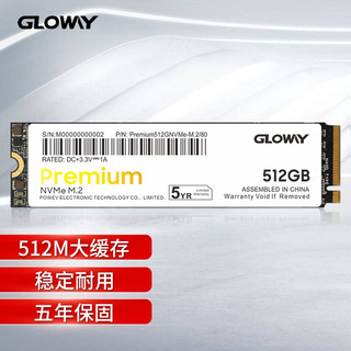 GLOWAY 光威 Gloway)512GB SSD固态硬盘 M.2接口(NVMe协议) Premium高级版/五年质保
