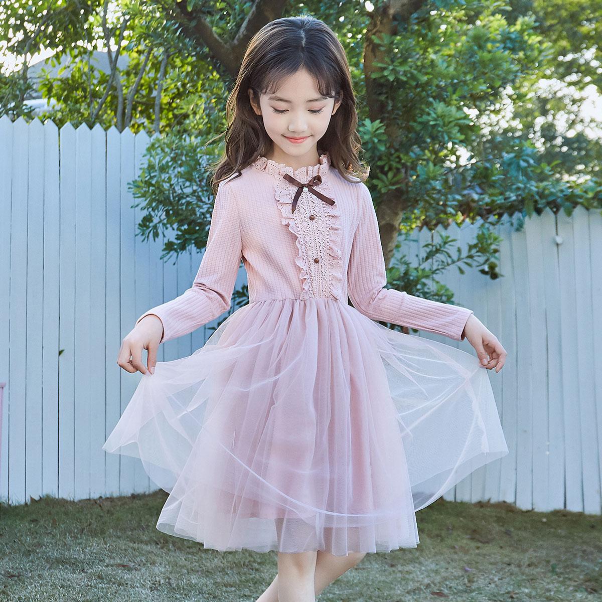 女童连衣裙21年秋季新款女童时尚甜美针织打底拼接网纱公主裙