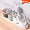 禧天龙玻璃调料盒家用厨房调料罐带盖罐子小组合装创意调味罐套装 [新老底座随机发]无铅玻璃调料盒3个装(带调料勺)灰色-8040