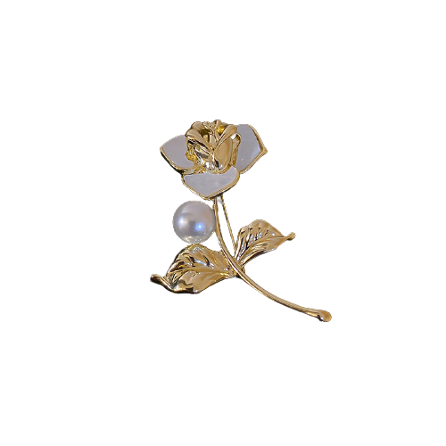 TekapoJade HP392-1 玫瑰花珍珠胸针