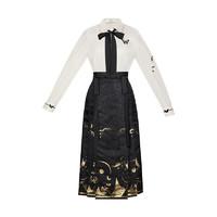 CHIXIA 池夏 汉元素 飞天:墨舞 女士长袖衬衫马面裙 S11012 黑白色 S