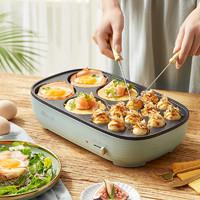 小熊 章鱼小丸子机家用电饼铛小型多功能迷你烤饼机电煎鸡蛋汉堡机 绿色