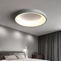 迅泽  卧室灯吸顶灯2021年新款主卧灯灯具现代简约北欧房间灯阳台书房灯  加大款灰色圆形48Cm_暖光(热卖款)