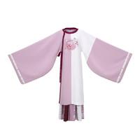 CHIXIA 池夏 改良 汉服 知秋:扶疏 女士圆领袍一片式褶裙 S11019 浅紫粉 S
