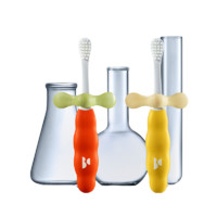 babycare BC2010001 成长型儿童牙刷 2阶段 2支装 卡洛红+赛柏黄