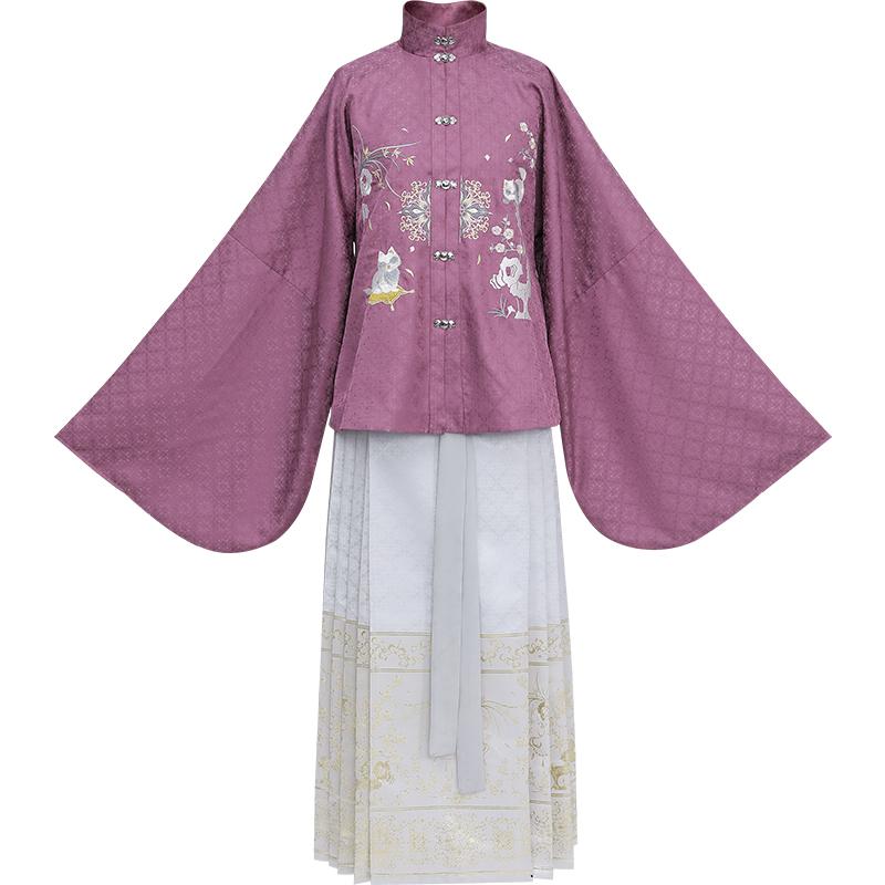 织羽集 汉服 司猫 女士竖领对襟袄马面裙 Y0366