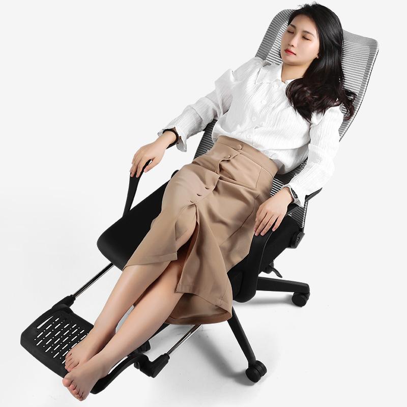 云客电脑椅可躺午休椅子人体工学久坐舒适家用办公座椅电竞椅靠背 黑色-可躺午休-带脚踏