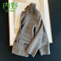 Uchino 内野 羊绒羊毛呢格纹双排扣中长款夹克