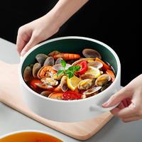 光一 清新可爱双耳汤碗大号家用陶瓷碗汤盆创意个性餐具大碗泡面碗单个 淡黄色
