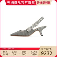 DIOR 迪奥 时尚女士高跟凉鞋金属光泽面银色舒适女鞋