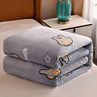 J.H.Longess 加厚雪貂绒毛毯休闲盖毯秋冬午休毯 mul-格子兔 120*200cm约1.2斤